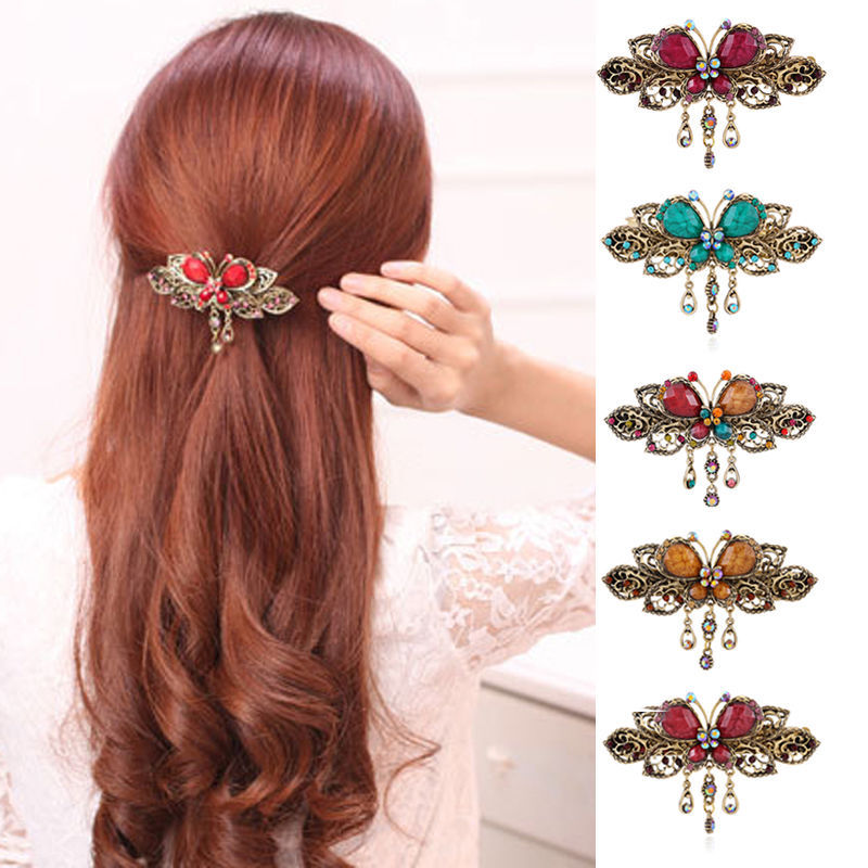1 PCS Elegant Women Retro Vintage Crystal Diamond Butterfly Flower Hairpins Hair Clip Barrette Hair Band Accessories(China (Mainland))