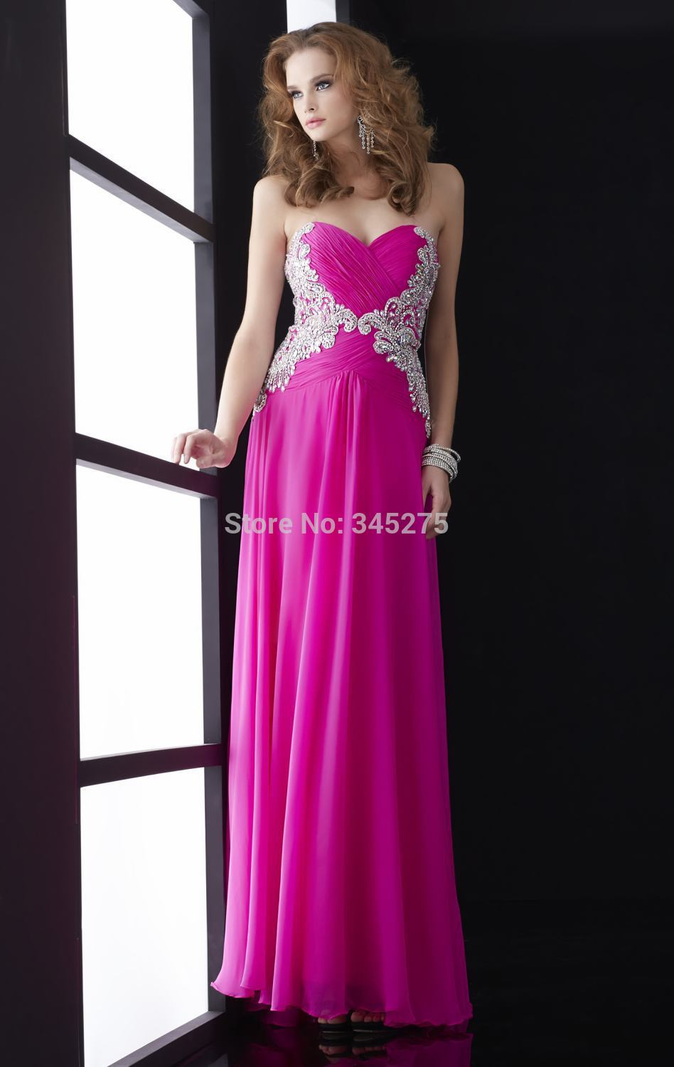Lovely chiffon sweetheart ruched beaded floral pattern bodice full length soft skirt fuschia prom dresses 2014 night dress(China (Mainland))