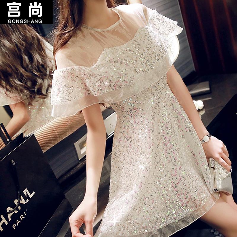Organza 2015 Ladies dinner dress topshop sexy slim paillette one-piece dress gauze small fresh sweet women's summer dress(China (Mainland))