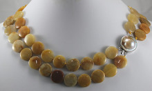 wholesale 2 rows jade coins withe pearl clap jewelry necklace(China (Mainland))