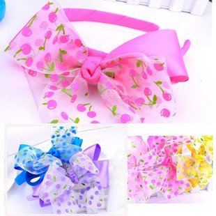 2012New Children's headwear The hoop headband Silk ribbon Rousha cherry paragraph Large butterfly knot double-layer