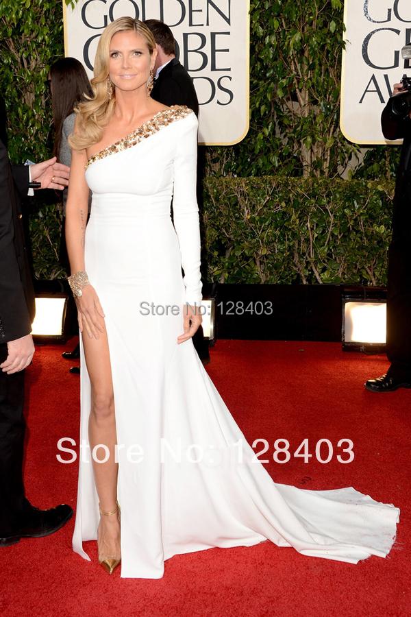 White One Shoulder Long Sleeve Dress