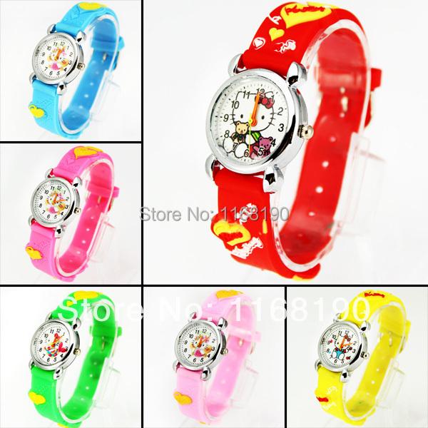 1pc Cute Hello Kitty Watch Children Kid's Favorite Gift Watch Silicone Cartoon Wrist Watch Quartz Watches, 6 Colors, C18(China (Mainland))