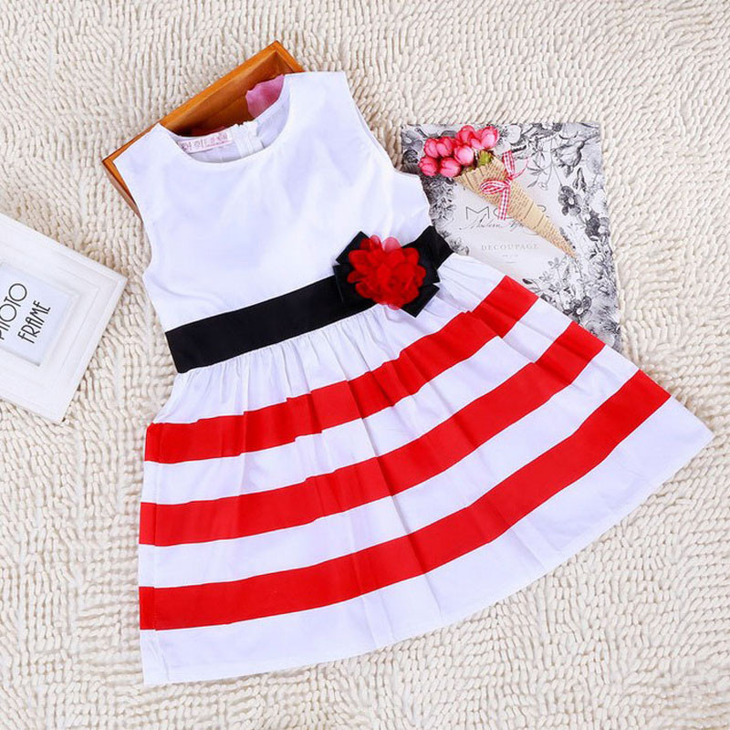 Alipower 2015 Hot New Baby Clothes Red And White Striped Flower Princess Dresses For Kids Clothing Sleeveless Girl Costumes(China (Mainland))