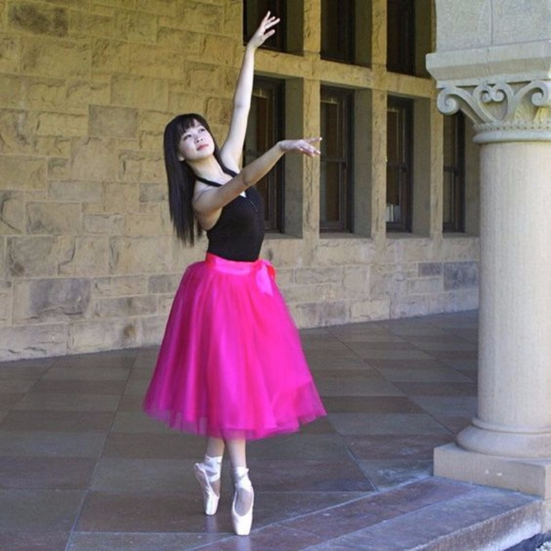 Ballet Style Tulle Skirt Ribbons Waistline A Line Tee Length Midi Skirt Women Dancing Tutu Skirts Hot Pink