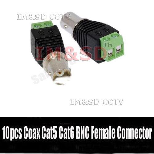 5pcs Coax Cat5 Cat6 CCTV Coaxial Camera BNC female Jack Video Balun Connectors(China (Mainland))