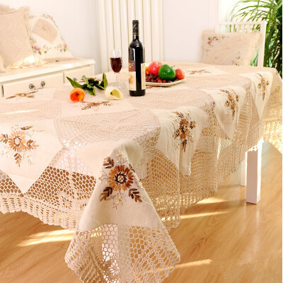 S&V Hot sale Hand crochet tablecloth Rural cloth embroidered tablecloths Crochet set spell ribbon embroidery table cover(China (Mainland))
