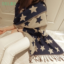 DELOS European Style Double Cashmere Long Scarf Tassel Shawl Five-pointed Star Brand Design Women Winter Scarves Poncho Cape HOT(China (Mainland))