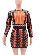 Новинка 2019 года весна осень взлетно посадочной полосы платье для женщин оранжевый Bodycon выдалбливают связали с вечерние длинным рукавом лос...(China)