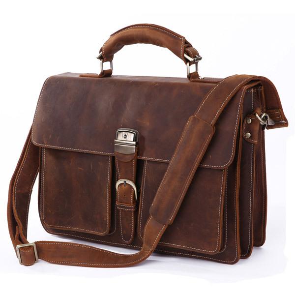 Baigio Leather Men Bag Briefcases 16″ Laptop Bag Vintage Brown Italian Leather Designer Men Messenger Bag Tote Shoulder Men Bag