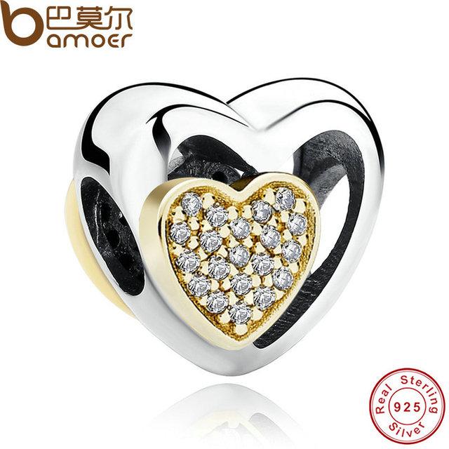 BAMOER Романтический Сердце Стерлингового Серебра 925 Соединены Вместе, ясно CZ Золотые ...