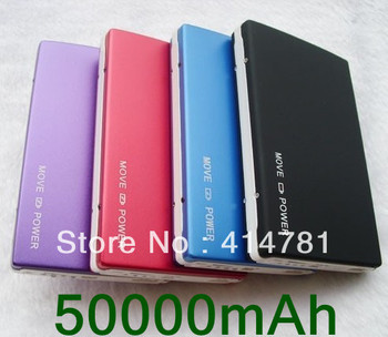 Free shipping 2 Usb Port 50000MAH Power Bank 50000mAh portable charger External Battery for iphone 5 ipad, samsung galaxy S3