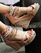 2015 women summer shoes multicolour beads bohemia national trend ultra high heels wedges sandals women's platform shoes big 43(China (Mainland))