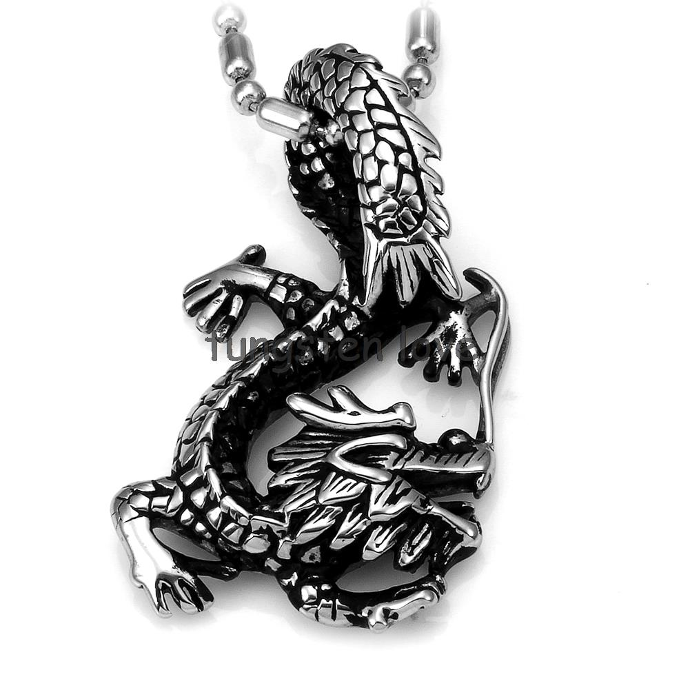 Fashion Jewellery Cool Punk Stainless Steel Dragon Pendant Necklace Animal Necklaces Mens Birthday Halloween Boy Men Gifts(China (Mainland))