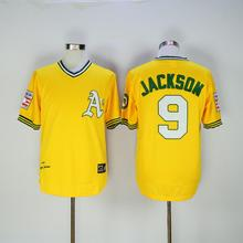 2016 New Style Mens Vintage 9 bo jackson Throwback Baseball Jersey Color Blue Size M-3XL(China (Mainland))