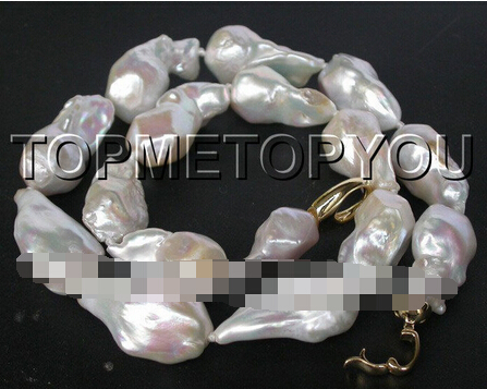 Free shipping >>@ 1512 CRAZY Luster 28mm natural white Reborn Keshi pearls necklace(China (Mainland))