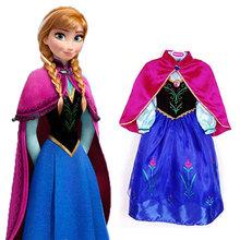One Pcs!New 2015 Baby girls winter Frozen dress,Children dress warm,kids elsa dress,Girls Elsa&Anna hood clothes