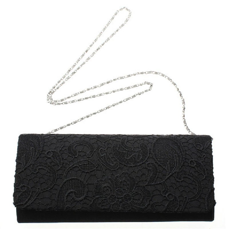 Hot Selling Evening Bag Women Handbag Chain Clutches Shoulder Bags Lady Messenger Coin Purse Bag Hollow Out Lace Black White(China (Mainland))