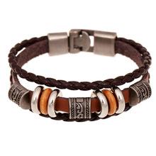 2016 New Fashion Genuine Leather Charm Bracelets For Women Men Vintage Beaded Braided Bracelets Bangles Wholesale(China (Mainland))