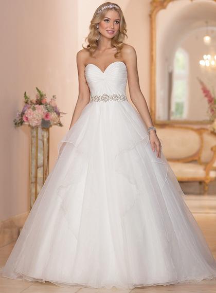 Fashion Style Vestidos De Noiva A Line Robe De Mariage Sweetheart Bridal Gown Organza Wedding Dresses 2015 Chapel Train YN0220(China (Mainland))