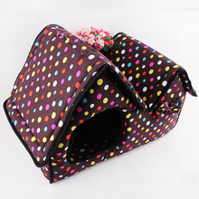 51x26x37cm Pet House Pet Supply Double Top Zipper Dot Warm Dogs Kennel Cat /Dog House Folding Pet Beds for /Spring/Autumn/Winter(China (Mainland))
