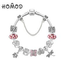 Butterfly Charm Bracelet with AAA Zirconia Pendants for Women Fit Pandora Bracelet DIY Making(China (Mainland))