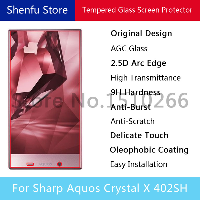 2.5D Arc Edge 9H Anti-Burst Tempered Glass Screen Protector Mobile Phone Protective Film For Sharp Aquos Crystal X 402SH(China (Mainland))