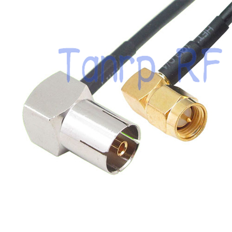 50CM Pigtail coaxial jumper RG174 extension cable 20in TV female jack to SMA male both right angle 90 degree RF connector(China (Mainland))
