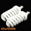 Low Price 2pcs 45W 5500K 220V Photo Daylight Fluorescent Bulb Lamp Video Light For Video Studio