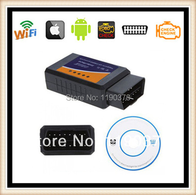 Whole Sale OBD/EOBD Code Reader ELM327 WIFI Diagnostic Interface ELM 327 WIFI iOS System/Android Torque 5pcs/Lot CNP Free(China (Mainland))