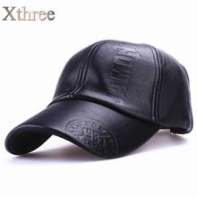 Xthree New fashion high quality fall winter men leather hat Cap casual moto snapback hat men's baseball cap wholesale(China (Mainland))