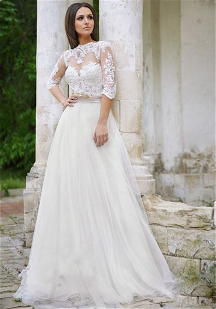 Vintage Wedding Dresses 3 4 Sleeve : Aliexpress buy romantic sleeves lace bridal