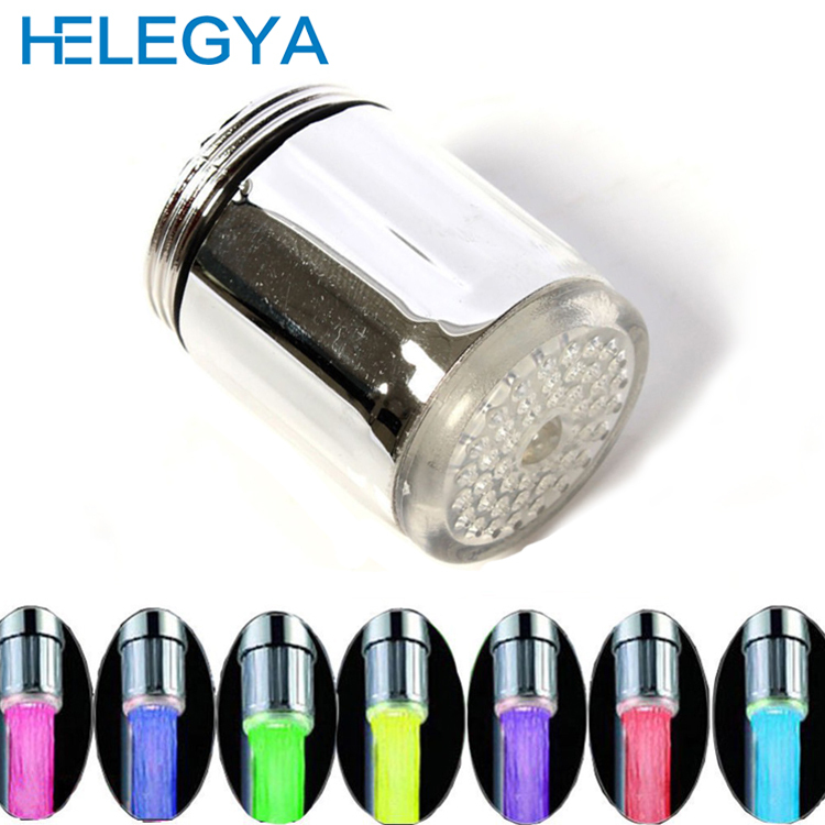 HELEGYA Bathroom Accessories Chuveiro Led Faucet Light Shower Ducha Head To Tap 7 Colors Bath Spout Temperature 2015 B2-002(China (Mainland))