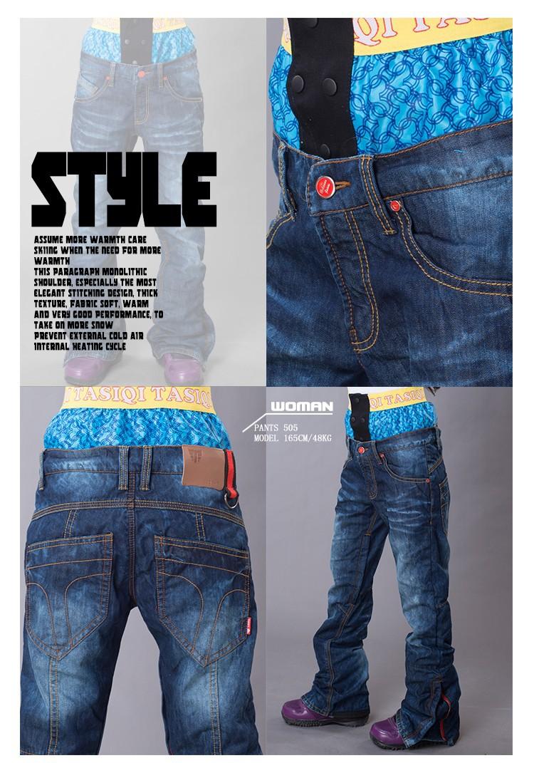 2015 новые лыжные брюки джинсы плюс толстый бархат для мужчин и женщин, водонепроницаемый 10000 лыжные штаны, дышащий сноуборд штаны джинсовые