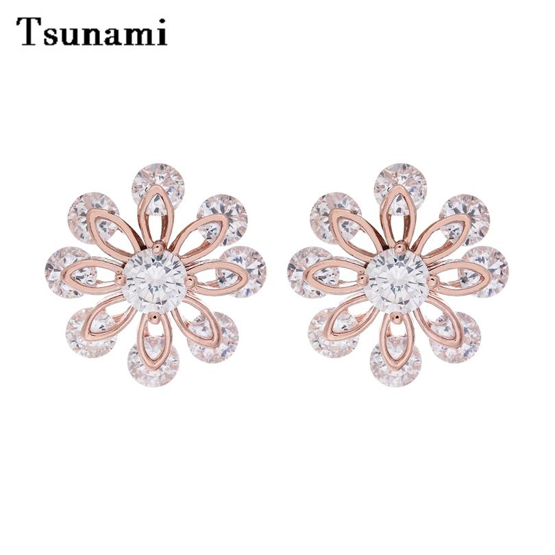 2016 explosion models snowflake solar grade zirconium earrings Korean manufacturers wholesale fashion trends(China (Mainland))