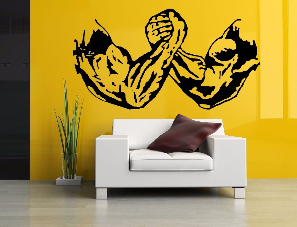 Buy fitness sticker body building decal for Custom vinyl mural prints