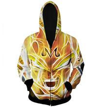 Harajuku Dragon Ball Super Saiyan 3D Hoodies Zipper Outerwear Men Cartoon Goku Vegeta Hoodie Loose Hooded Sweatshirt plus size