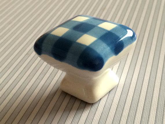 Gingham Dresser Knob Drawer Pulls Handles Ceramic Kitchen Cabinet Knobs Kids Square White Blue Furniture Decortive Knobs()