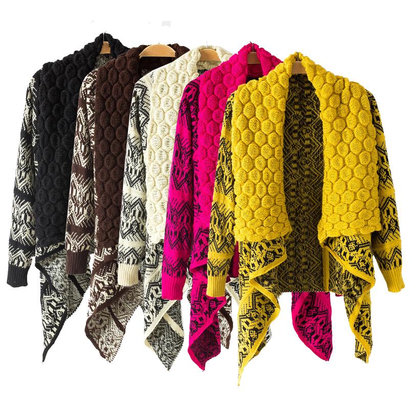 2015 mode f minine chandails tricot s cardigan automne hiver femmes chandail chaud veste poncho. Black Bedroom Furniture Sets. Home Design Ideas