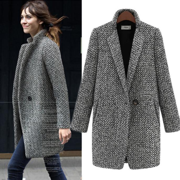 Elegant Women Winter Wool Coats Plus Size Grey Warm Cotton Trench Laides Velvet Thicken Jacket Long Outdoor Overcoat - Whats Apparel store