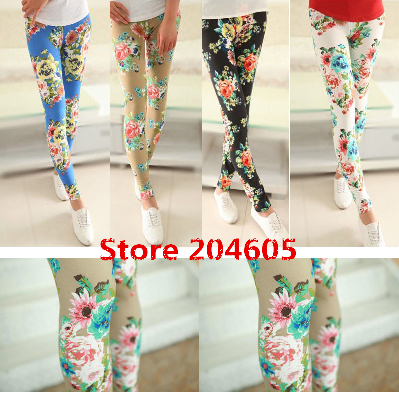 Free Shipping Autumn Winter Flower Pattern Print Fashion Womens Leggings Show Thin Black Skinny Pants 4 ColorsОдежда и ак�е��уары<br><br><br>Aliexpress