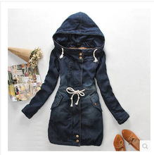 New Arrival Jeans Jacket Women Long Section Sobretudo Thick Warm Cotton Padded Hooded Denim Coat Winter Outwear Tops Clothes J09