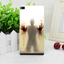 A0785 Scary Shower Curtain Transparent Hard Thin Skin Case Cover For Huawei P 6 7 8 9 Lite Plus Honor 6 7 4C 4X G7(China (Mainland))