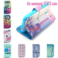 2014 Flowers Imagery Printing Flip Leather For Samsung Galaxy ACE3 ACE 3 III S7270 7270 S7272 7272 S7275 S7278 Phone Cover Case(China (Mainland))