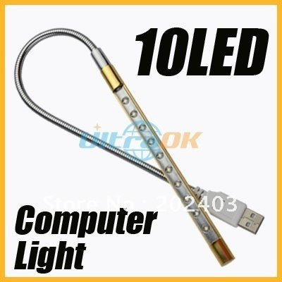 New USB 10 LED Bright Light Lamp for laptop desktop computer PC 40cm 42g silver&golden free shipping
