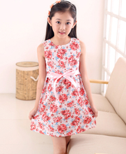 2015 Fashion Kids White Red Bow Trendy Flower Vestidos Infantis Dress Girls Summer Birthday Party Flower Princess Dress 3-12y