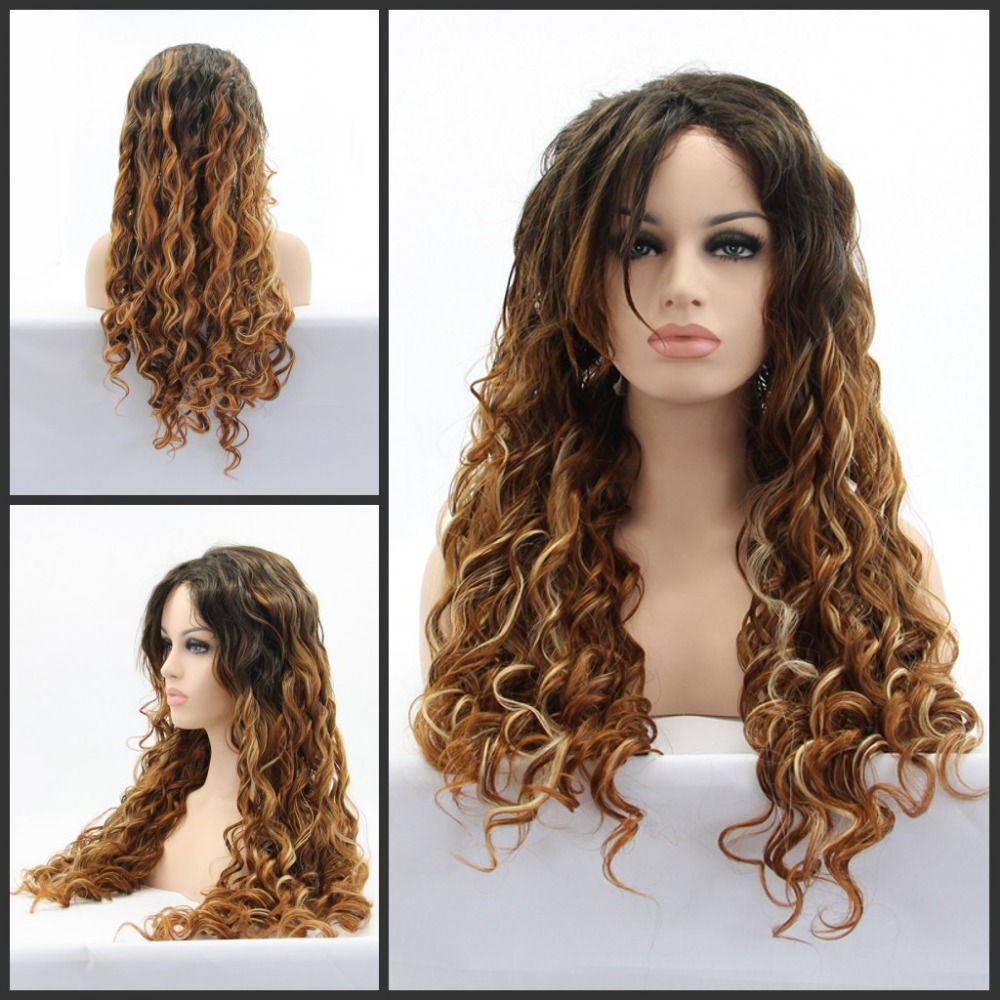 2014 new glueless deep wave brown heat resistant hair Synthetic Lace Front wig/Shakia wig - Qingdao noble queen factory store
