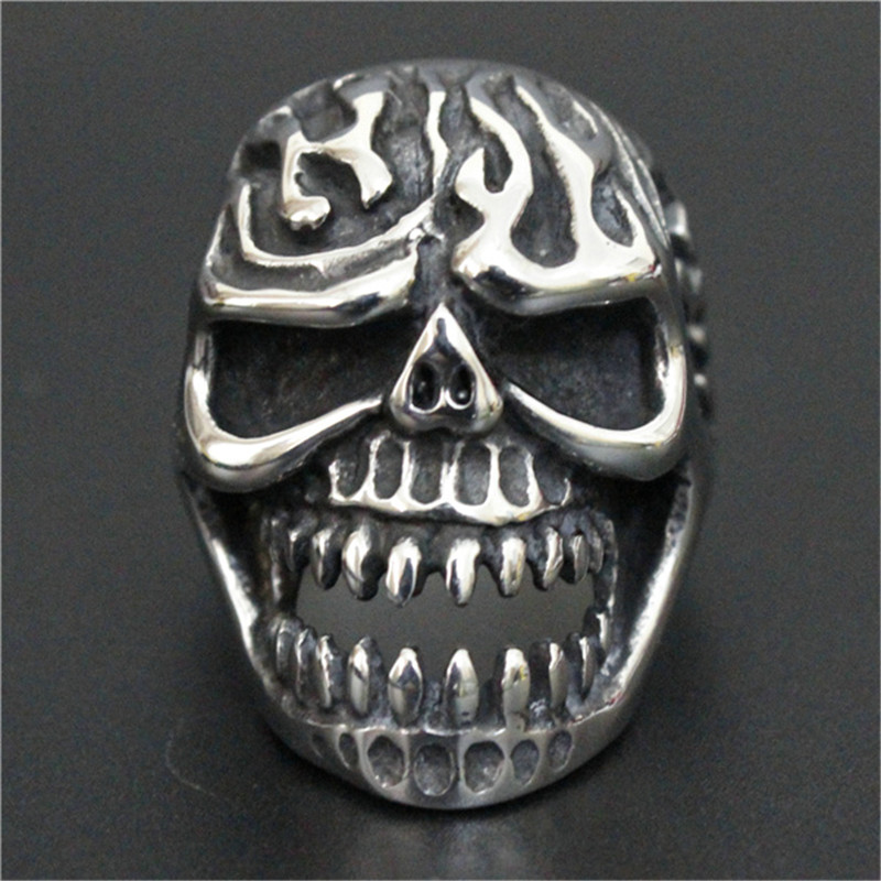 3pcs/lot Fast Shipping Size 7-13 Fire Flam Skull Ring 316L Stainless Steel Cool Popular Ghost Skull Ring(China (Mainland))