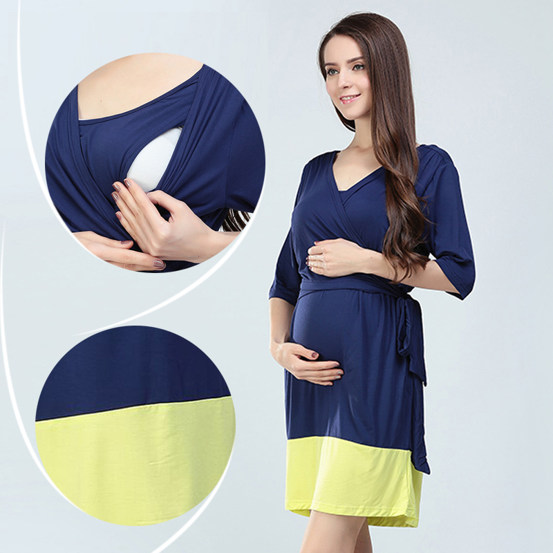 Hot wholesale Free shipping Maternity Dresses Modal Lactation clothes Pregnancy Dresses Soft Breastfeeding Dress Nursing M L XL(Hong Kong)