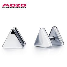 2016 Man Stainless Steel Silver / Black Triangle Stud Earrings Hip Hop Style New Hot Fashion Jewelry Men Boucle d'oreille MGE321(China (Mainland))